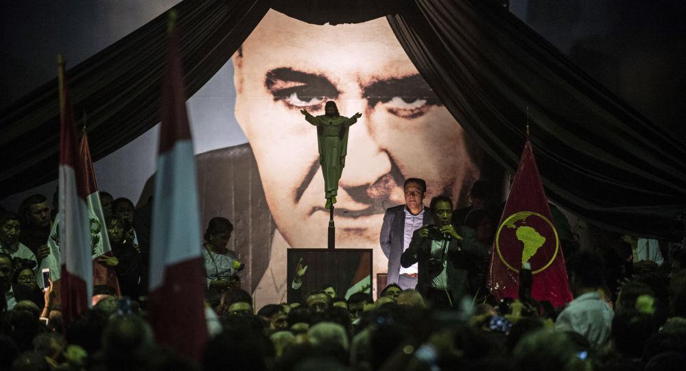 Retrato de Alan García, expresidente de Perú