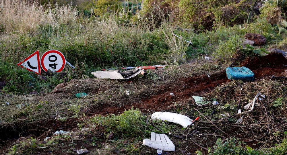Lugar del accidente de un autobús en la isla de Madeira, Portugal