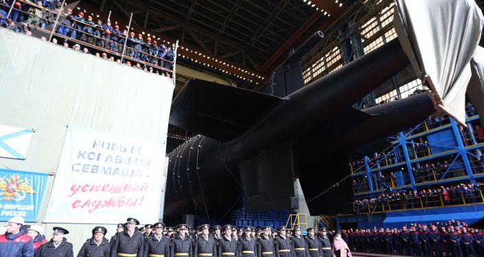 Botadura oficial del submarino nuclear Belgorod
