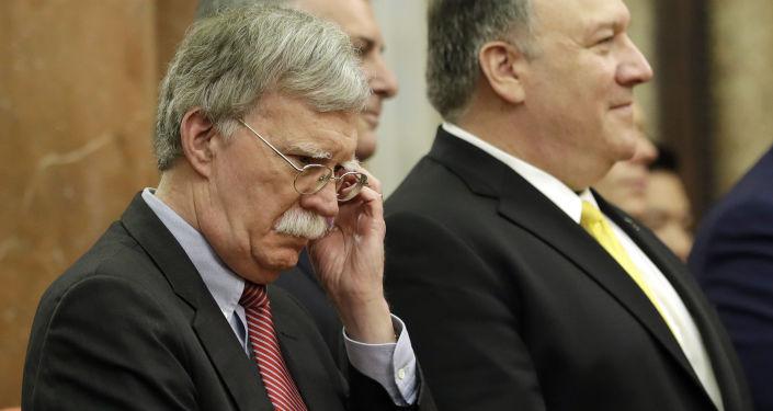 El consejero de Seguridad Nacional de la Casa Blanca, John Bolton, y el secretario de Estado de Estados Unidos, Mike Pompeo