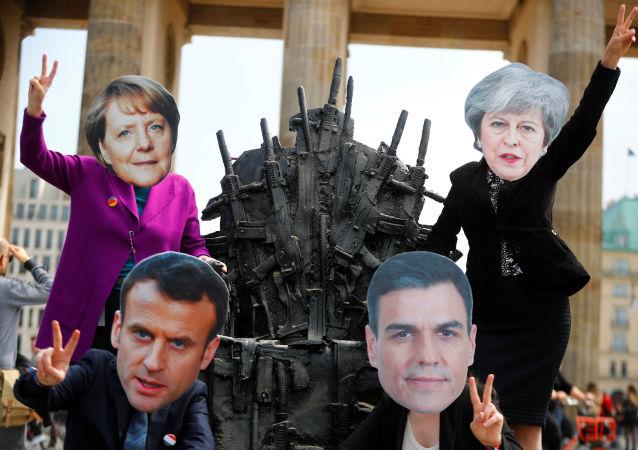 Activistas protestan contra la exportación de armas desde Europa, en Berlín, el 11 de mayo de 2019