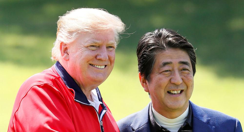 El presidente de EEUU, Donald Trump junto al primer ministro de Japón Shinzo Abe