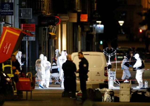 El lugar de la explosión en Lyon, Francia