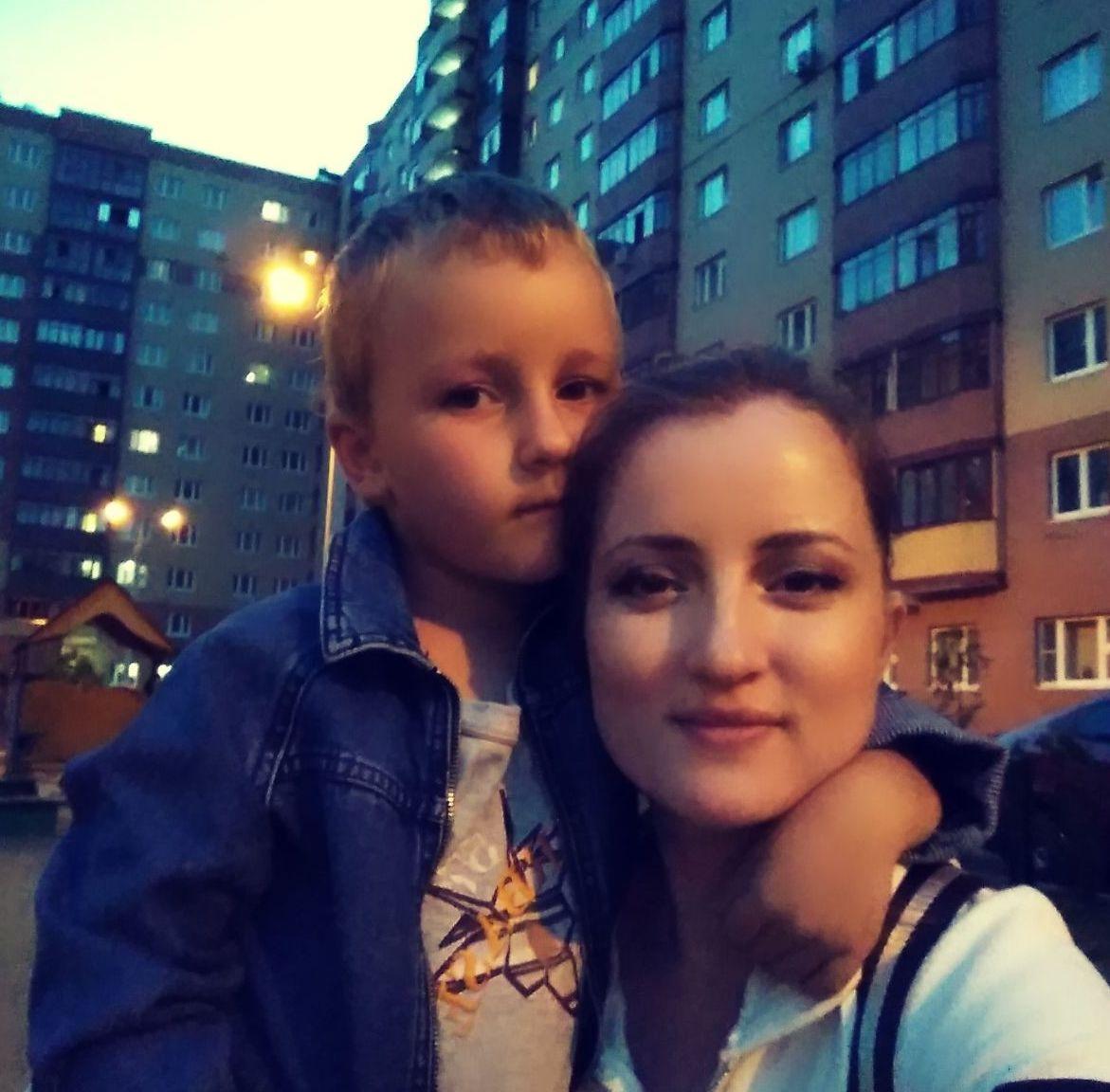 Tatiana Barinova con su hijo Valeriy
