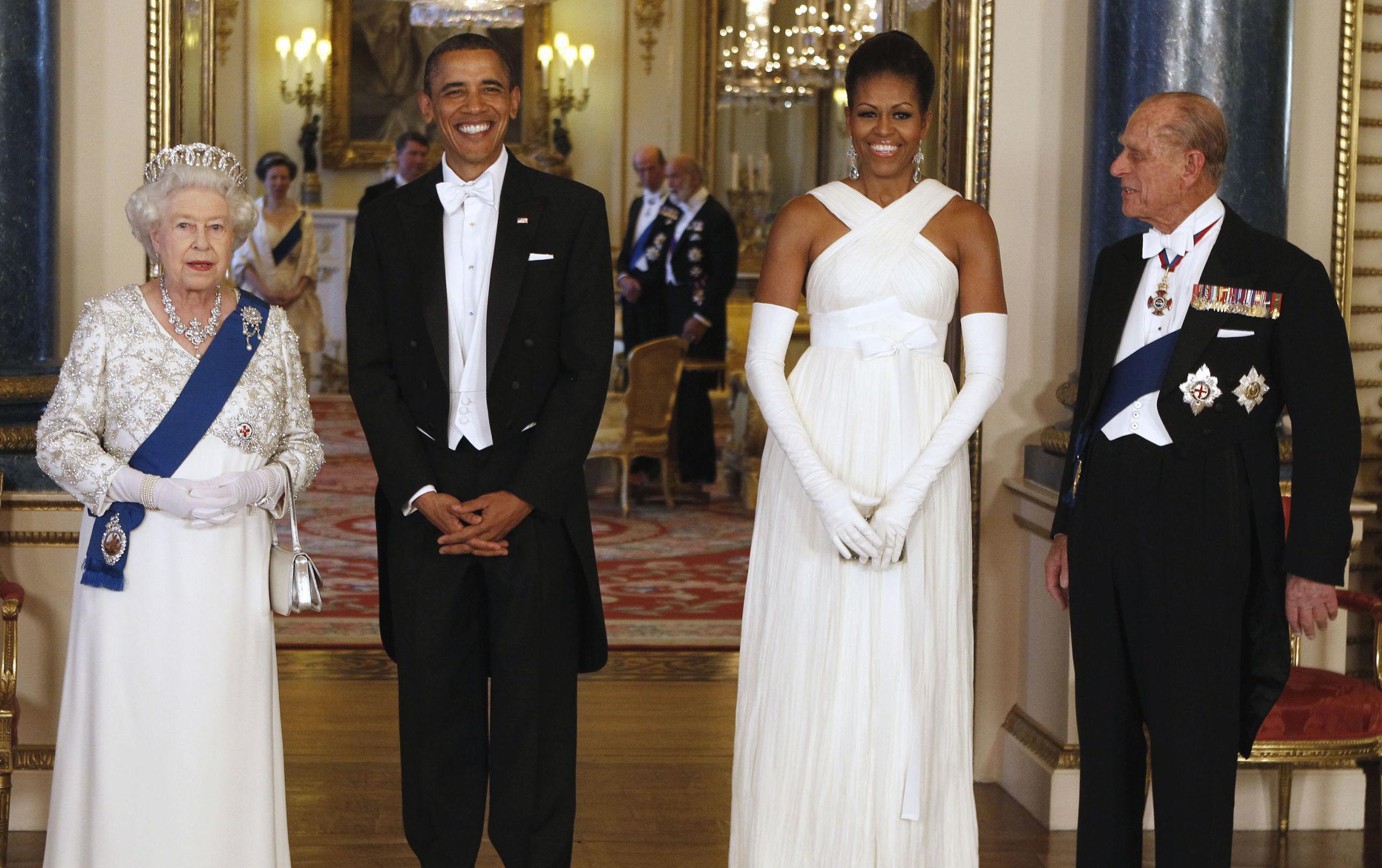 La reina Isabel II, el príncipe Felipe, el presidente Barack Obama y la primera dama, Michelle Obama, en 2016