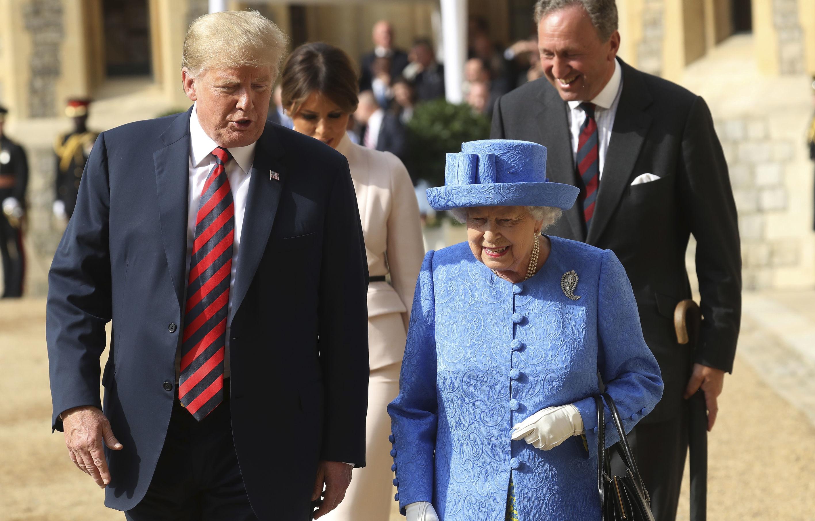 La reina Isabel II y el presidente de EEUU, Donald Trump, durante su visita oficial en 2018