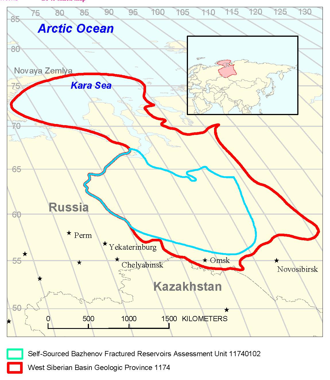 Mapa del petróleo de formaciones compactas de la formación de Bazhénov