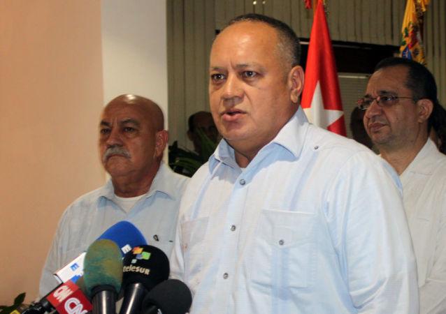 Diosdado Cabello, presidente de la Asamblea Nacional Constituyente de Venezuela, en conferencia de prensa en La Habana, Cuba