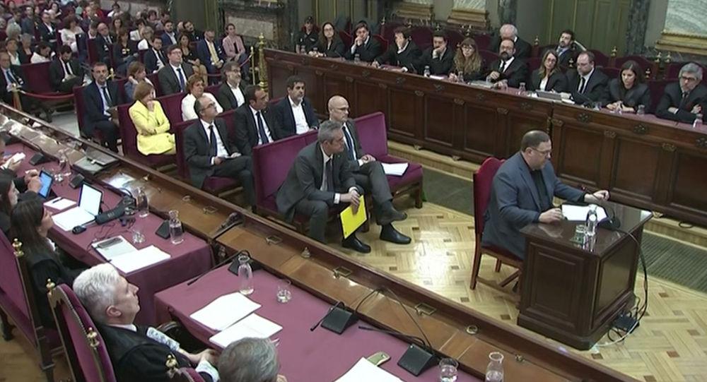 Oriol Junqueras, exvicepresidente del Gobierno catalán, en la sala del Tribunal Supremo de España