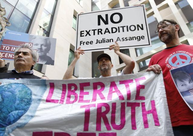 Los partidarios de Julian Assange se manifiestan ante el Tribunal de Magistrados de Londres