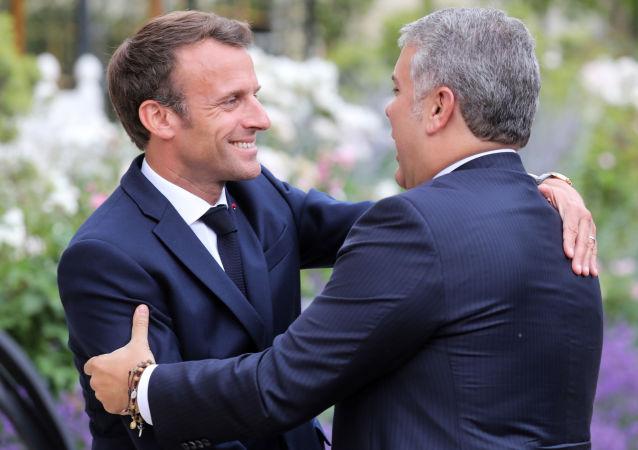 Emmanuel Macron, presidente de Francia, y Iván Duque, presidente de Colombia