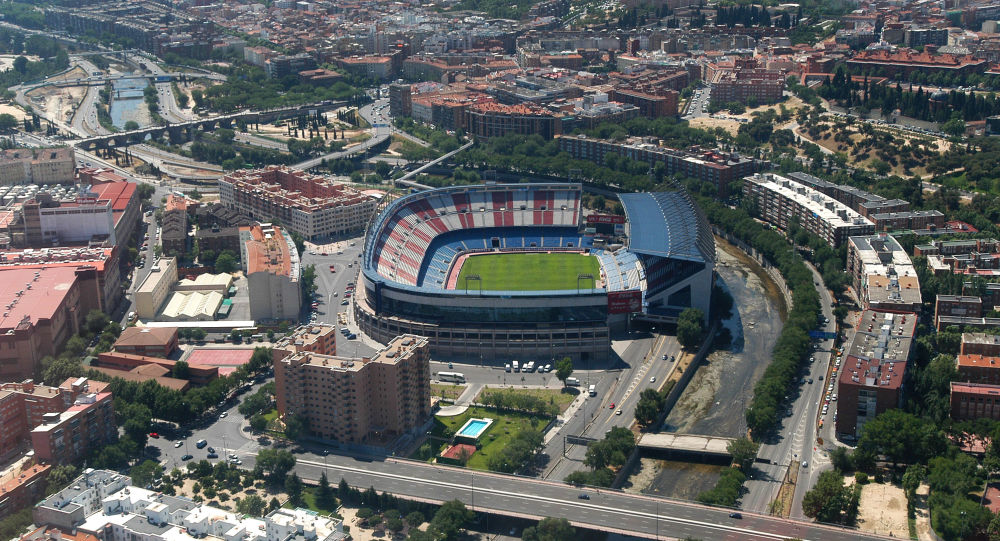 Vista del estadio Vicente Calderón en Madrid