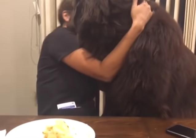 Un perro pide un abrazo a su dueña y aprovecha para robarle la comida