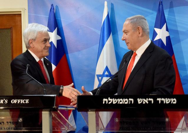 El presidente de Chile, Sebastián Piñera, junto al primer ministro de Israel, Benjamin Netanyahu