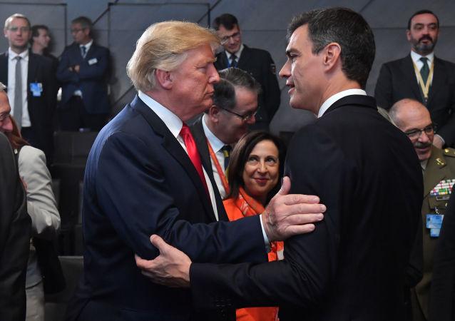 El presidente de EEUU, Donald Trump, y el primer ministro de España, Pedro Sánchez