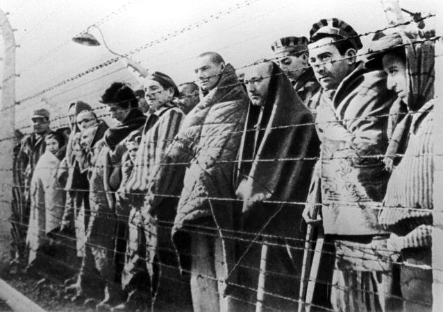 Prisioneros del campo de exterminio de Auschwitz