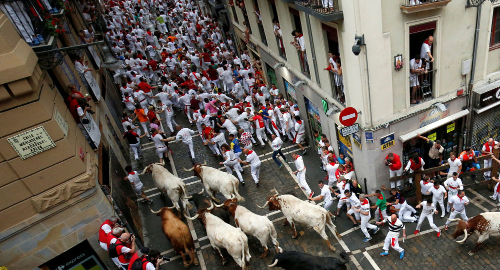 Revellers sprint in front of bulls and steers during the first running of the bulls at the San Fermin festival in Pamplona