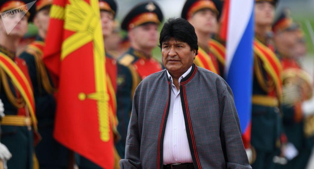 Presidente de Bolivia, Evo Morales, en el aeropuero de Moscú