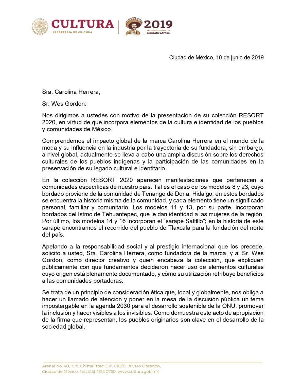 La carta de Carolina Herrera