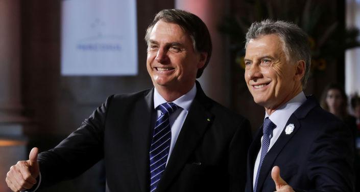 Presidente de Brasil, Jair Bolsonaro, con su homólogo argentino, Mauricio Macri