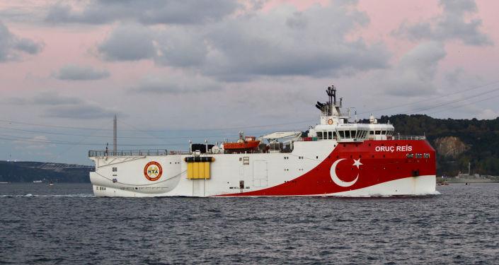 Un buque turco en el mar Mediterráneo