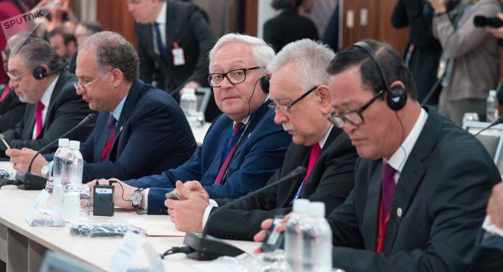 Serguéi Riabkov, viceministro de Exteriores ruso en la reunión de países amigos en defensa de la Carta de la ONU