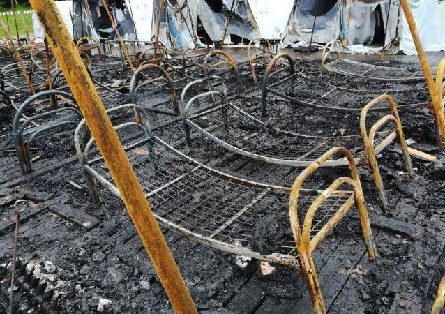 Consecuencias del incendio en un campamento del este de Rusia