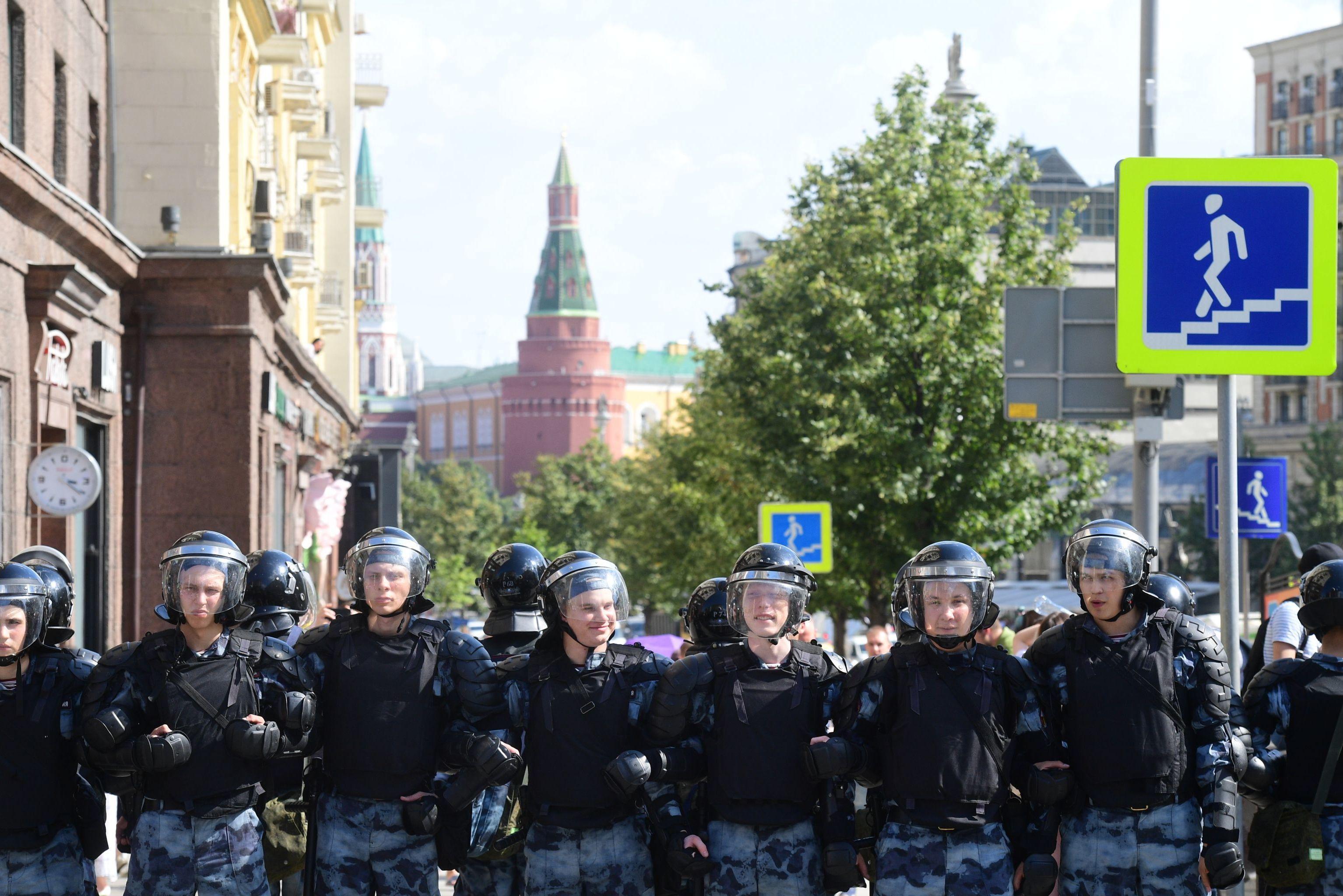 Cordón policial en el centro de Moscú