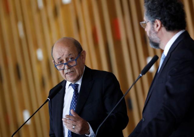 Jean Yves-Le Drian, ministro de Relaciones Exteriores de Francia, y su par brasileño Ernesto Araújo