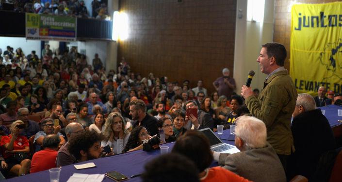 Glenn Greenwald, peridista estadounidense, en un acto en Río de Janeiro, Brasil