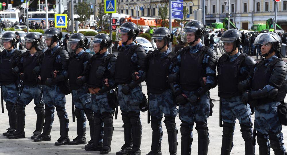Policía en Moscú durante la manifestación
