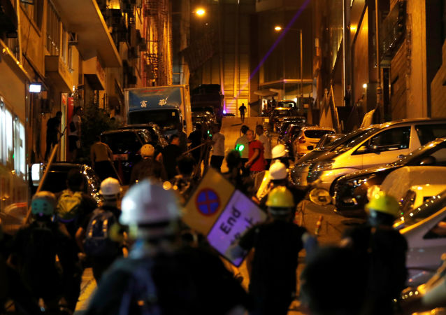 Los protestantes en Hong Kong