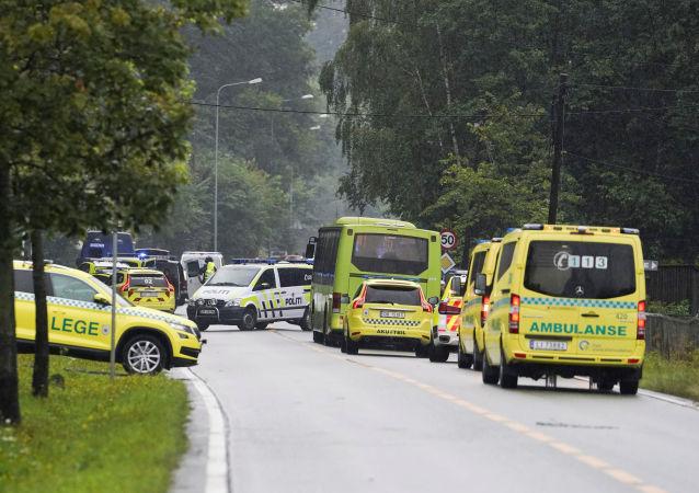 La ambulancia noruega cerca del lugar de los hechos