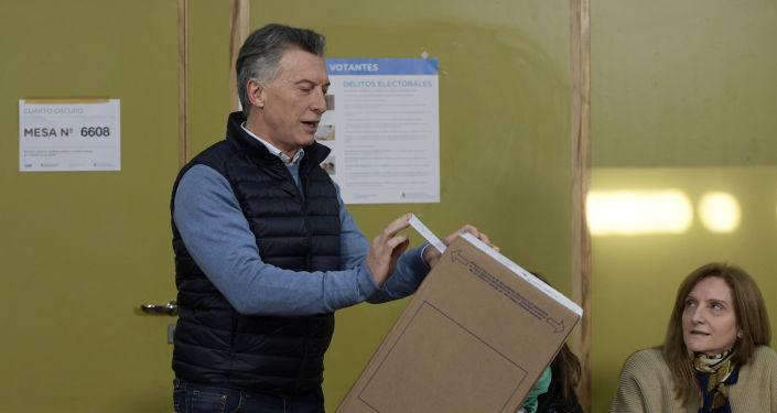 El actual presidente, y candidado a la reelección, Mauricio Macri, durante las elecciones primarias