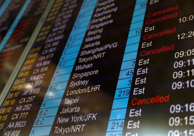 Tabla de salidas del aeropuerto de Hong Kong