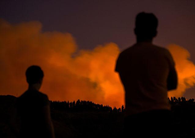 Incendio forestal en Gran Canaria, España