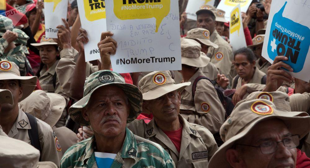 Las protestas en Caracas contra la política de sanciones de EEUU