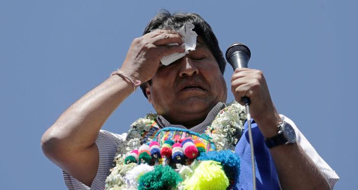 El presidente de Bolivia Evo Morales da un discurso