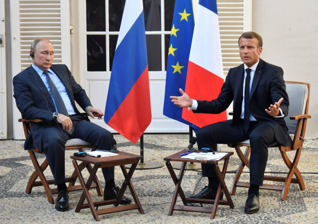 El encuentro entre los presidentes de Rusia y Francia, Vladímir Putin y Emmanuel Macron