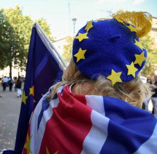 Una mujer con la bandera del Reino Unido y una boina con las estrellas de la UE