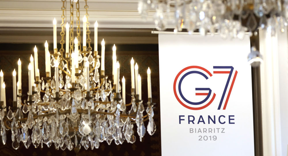 El logo de G7 en Biarritz