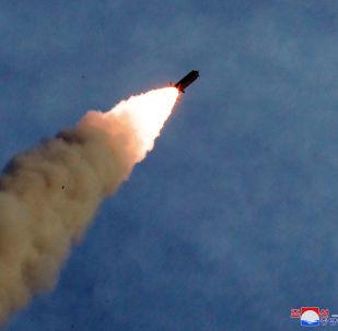 Misil lanzado desde el sistema de lanzamiento múltiple de misiles norcoreano