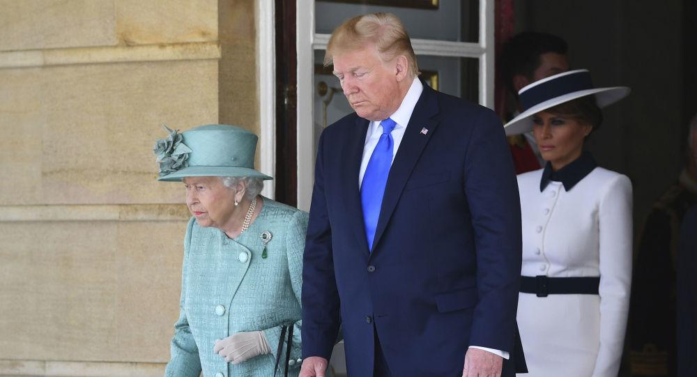 La reina británica Isabel II y el presidente de EEUU, Donald Trump