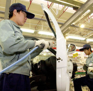 Una planta de ensamblaje de General Motors en China
