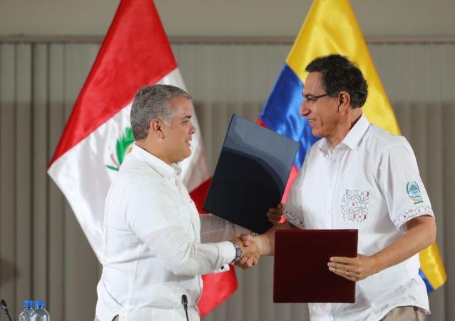 Presidente de Colombia, Iván Duque, y presidente de Perú, Martín Vizcarra
