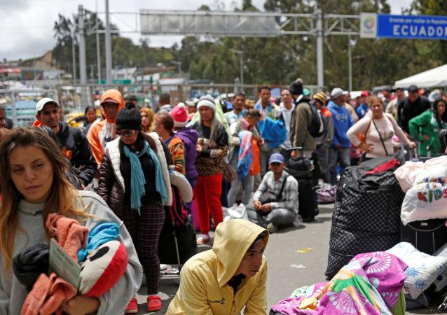 Los migrantes venezolanos en la frontera con Colombia