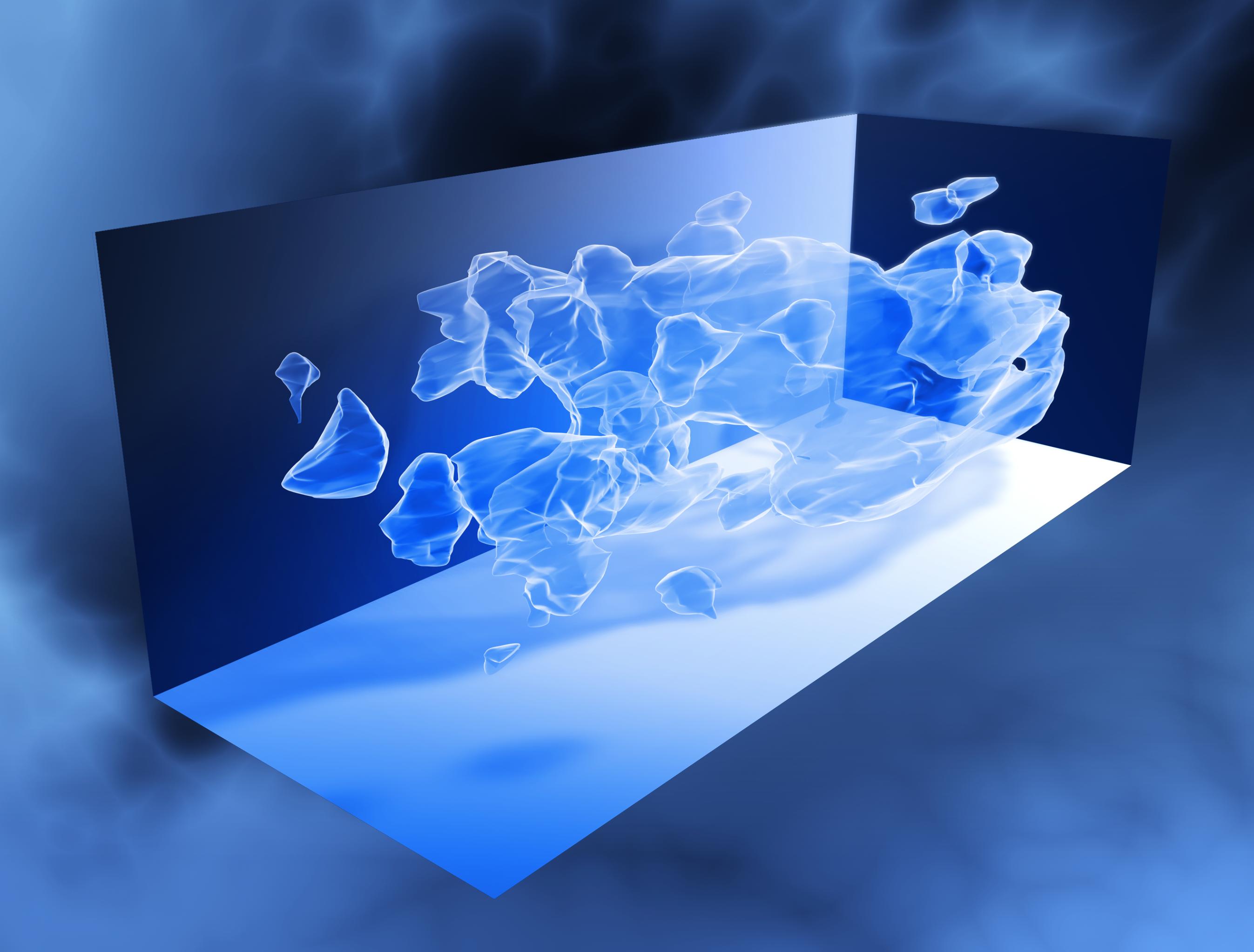 Recreación gráfica de la distribución de la materia oscura en el universo. Según cálculos, la materia oscura representa el 25% de la materia del universo y alrededor del 80% de su masa total.