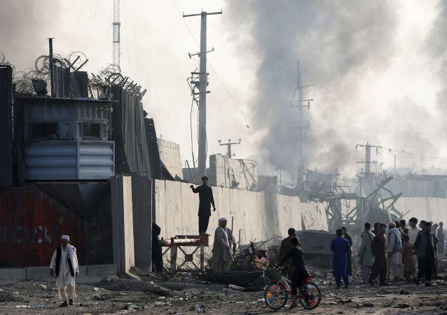 Lugar del atentado en Kabul, Afganistán
