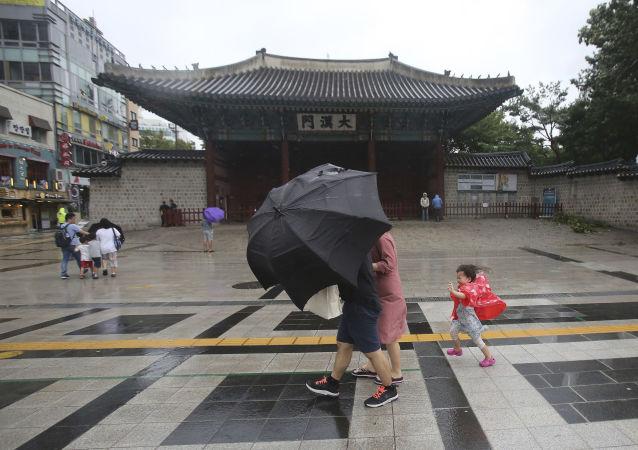 El tifón Lingling en Corea del Sur