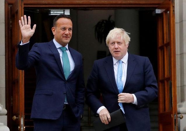 El primer ministro británico, Boris Johnson y su homólogo irlandés, Leo Varadkar